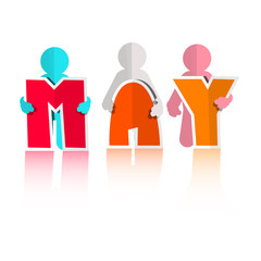 May Colorful Paper Cut Title and Men