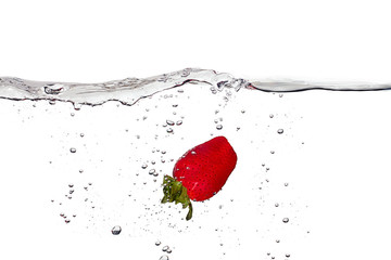 Fresh Strawberrie in Water Isolated on White Background
