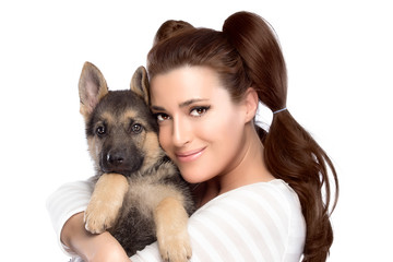 Cute Young Woman with a Puppy Dog