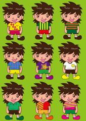 fashion model or young boy smile cartoon