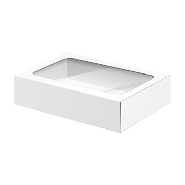 White Product Cardboard Package Box With Window.