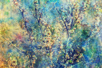 Blooming twigs and grunge messy watercolor splatter