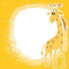 Card design with cute giraffe on a spotted yellow background