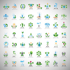 Eco Icons Set - Isolated On Gray Background