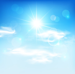 Sun and blue sky. Vector background