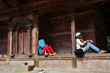 Thai Women and Nepali people in Basantapur Durbar Square