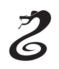 Silhouette of snake in the attack position