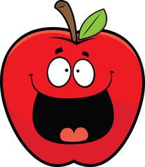 Cartoon Happy Red Apple