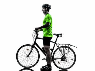 man bicycling  mountain bike standing silhouette