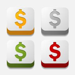 square button: money