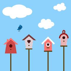 Wall Murals Birds in cages birdhouses