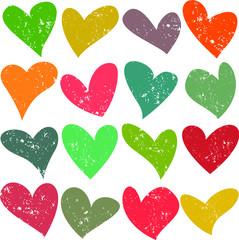 Cute grunge hearts seamless pattern