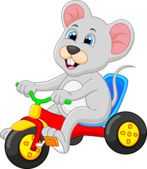 Cute mouse riding bicycle