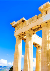 Details of Parthenon temple in Athens Greece