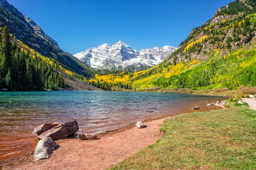 Maroon Bells and Lake in Fall