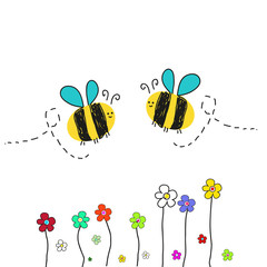 Bee vector with flower