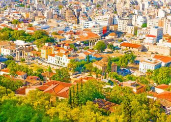 Aerial view of the old part of Athens town in Greece