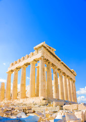 Spoed Fotobehang Athene the famous Parthenon temple in Acropolis in Athens Greece