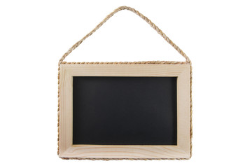 Blackboard with wooden frame isolated on white background