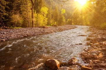 Wall Mural - Mountain River at Sunset