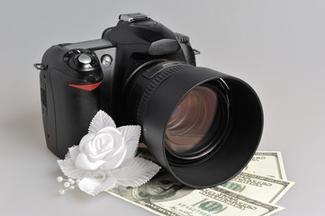 Photo camera, wedding boutonniere with money on gray
