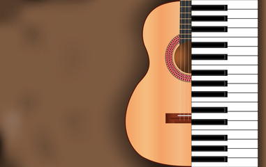 abstract music background from guitar and piano keys