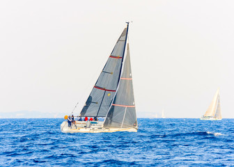 Sailing boat during a regatta out of Poros island in Greece