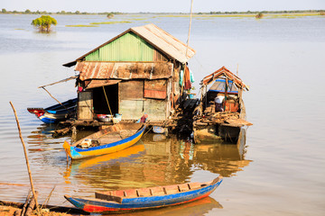 Fisherman floating house in tonle sap cambodia