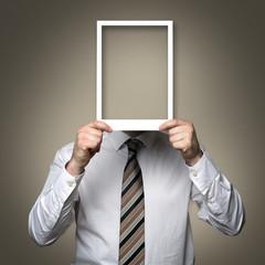 man with empty photo