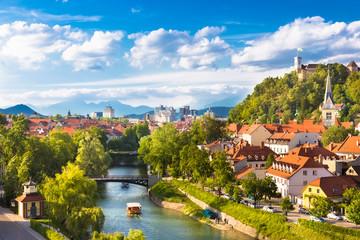 Panorama of Ljubljana, Slovenia, Europe. Wall mural