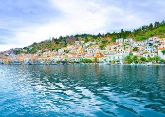 View of the capital of Poros island in Greece