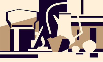 Abstract still life, tableware, vector picture