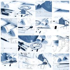 Blueprints, construction collage