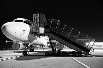 Airplane boarding close up photo