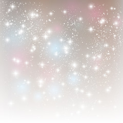 Shiny stars on silver background