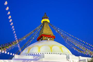 Boudhanath Stupa at dusk  in Kathmandu, Nepal