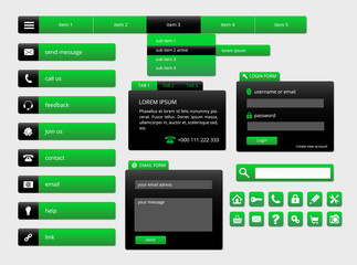 modern black and green web ui elements