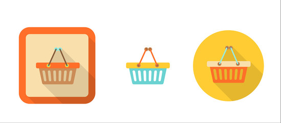 three icons of shopping cart in flat style