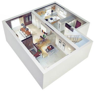 Plan view of an apartment. 3d concept