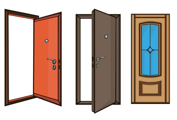 closed and open doors .cartoon style