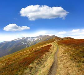 Fototapete - pathway on mountain ridge