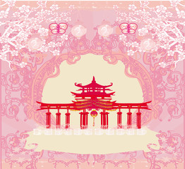 Photo sur Plexiglas Rose banbon Abstract card with Asian buildings , vintage frame