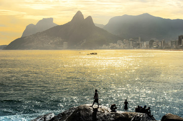 Wall Mural - Sunset at Copacabana beach, Rio de Janairo, Brazil