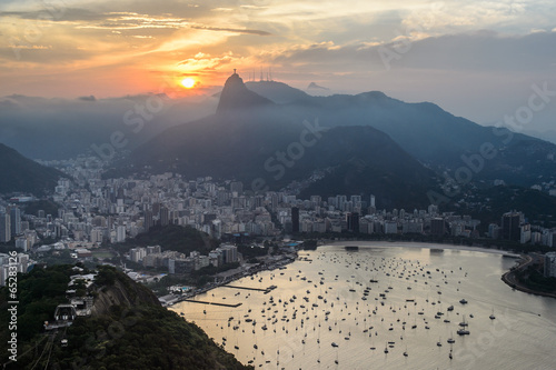 Wall mural Sunset view of Rio de Janairo, Brazil