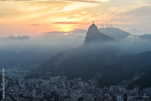 Wall mural Sunset view of Rio de Janairo, Brazil