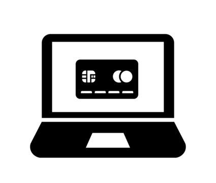 Carte de crédit dans un écran d'ordinateur
