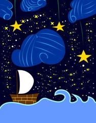 Sailing at Starry Night