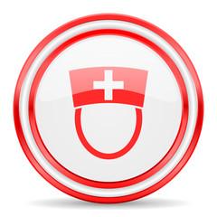 nurse red white glossy web icon