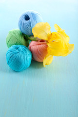 Colorful clews and fresh iris flower on color wooden background