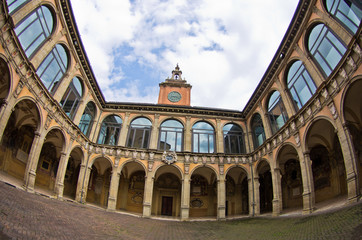Super wide view of old library building, city of Bologna